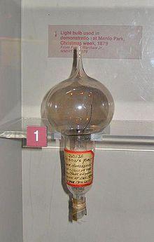 Primera bombeta de T. A. Edison utilitzada en la demostració a Menlo Park