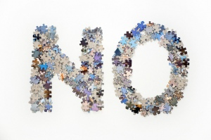 """The word no made from jigsaw puzzle pieces"", de Horia Varlan"