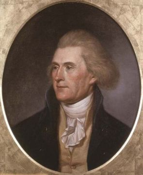 Thomas Jefferson, painted by Charles Willson Peale. Philadelphia, 1791, a la Viquipèdia