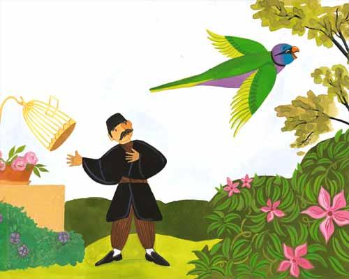 Il·lustració de A. Cook del llibre El Mercader i el lloro, de l'editorial Joventud