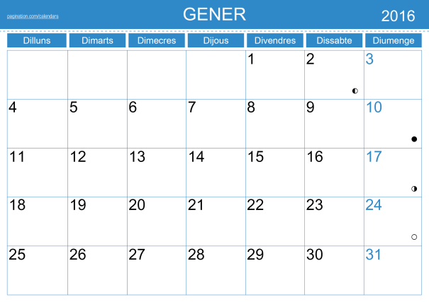 Calendari 2016 de pagination.com