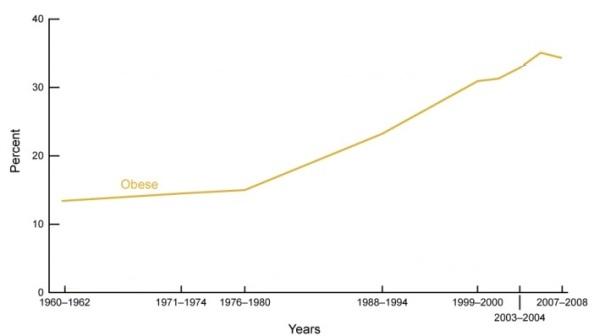 Obesitat, evolució de1977 a 2008 als EEUU
