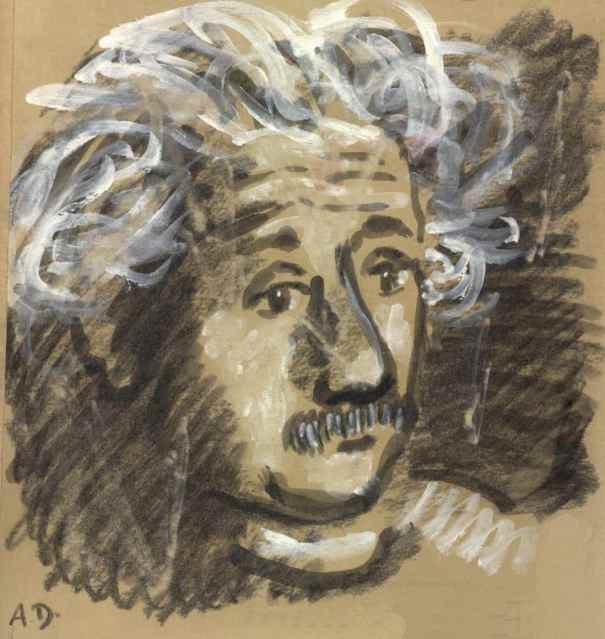 """Dibuix en guix d'Albert Einstein realitzat per Alexander Dobkin"""